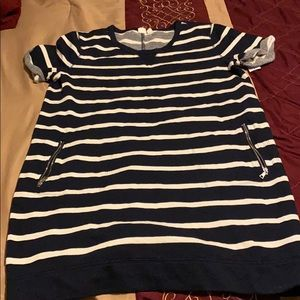 Navy blue sweater dress with white stripes